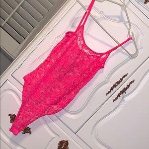 NWT Fashion Nova Lace Pink Bodysuit